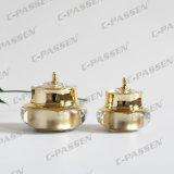 Estetica di lusso della parte superiore dell'oro che impacca il vaso acrilico della crema della bottiglia (PPC-NEW-004)
