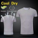 T-shirt respirable de forme physique d'usure de gymnastique de fonctionnement de formation du sport des hommes