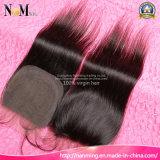 Encaje recta 10/12/14/16/18/20 Inch nudos blanqueados brasileña Cierre del cabello humano