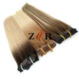 Pinza de pelo mongol drenada doble del color de Brown en la extensión del pelo humano