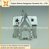De ionen Ceramische Schoorsteen van de Vorm van het Huis van het Plateren voor de Decoratie van Kerstmis, (de Decoratie van het Huis)