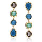 Los pendientes de gota de la manera con la resina de la vena en oro y plata geométrica cuelgan los pendientes con encantos de piedra cristalinos coloridos de la perla