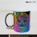 caneca de café cerâmica do crânio do derramamento de petróleo 16oz com punho