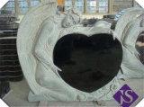 Preto barato esculpidas em granito em forma de coração/Monumentos/Headstone Tombstone