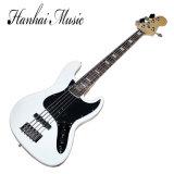 Musique de Hanahi/guitare basse électrique blanche avec 5 chaînes de caractères