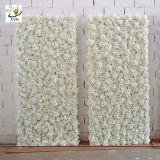 Parete bianca del fiore artificiale di Uvg 5FT con il Hydrangea e Rosa di seta per la decorazione di cerimonia nuziale