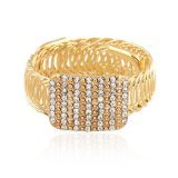 As mulheres de moda de liga de ouro Bracelete Largo Bangle Crystal