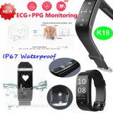 Bracelet intelligent imperméable à l'eau de cadeau promotionnel avec de la pression K18 d'ECG/Blood