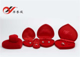 Sweety Red Color Heart Shape Velvet Jewelry Box