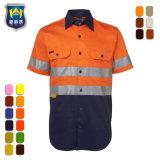 Hoge Klasse 2 van de Fluorescentie van het Zicht het Korte Overhemd van het Werk van de Koker