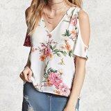 Flor de moda de las señoras impreso gasa V-cuello de la blusa del hombro
