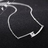 형식 단순한 설계 은은 2개의 링크 CZ 다이아몬드 목걸이를 도금했다