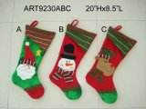 "22 ""H Santa, Snowman and Elf Christmas Decoration Stocking, 3 Asst"