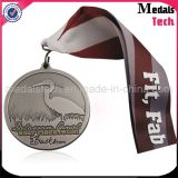 Medallas de encargo del país cruzado del metal del chorro de arena de plata antiguo
