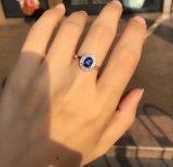 Blue CZ joyas de plata Anillo de ajuste de clúster