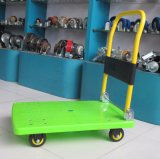 150kg方法緑色のプラットホームのトロリー無雑音折る手トラック