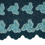 Tessuto asciutto africano del merletto del voile del cotone di colore di corallo