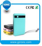 8000mAh batería externa portátil con cable de alimentación para teléfono móvil