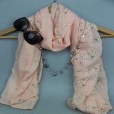 Rosafarbener Gras-Druck-Voile-Sommer Wovn Schal für Frauen-Form-Zusatzgerät