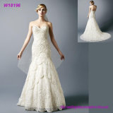 Светлое платье венчания Applique шнурка Шампань при цвет отбортовывая Bridal мантии
