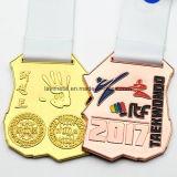 Custom cobre Oro Plata Taekwondo Deporte Medalla premio