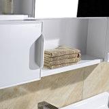 Governo di stanza da bagno bianco fissato al muro di legno di quercia di serie del Governo