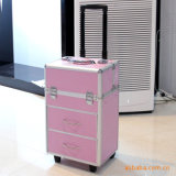 専門アルミニウムフレームの装飾的なトロリー箱、ピンクの美のトロリー箱