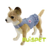 Blue Jean Denim Flower Dog Dress Pet Harness