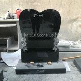 Pedra-preta de coração de granito preto Shanxi com escultura de rosas