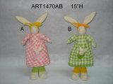 """15"""" Conejo H trenza de mama con el bebé-2asst. -Easter Decoración"""