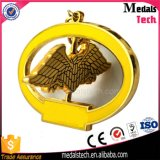 Rotating Eagle Shape Gold Plated Metal Dubai Keychain pour Souvenir