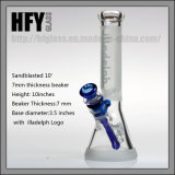 Hfy Glass en stock Sandblasted 10 pouces 7mm Epaisseur Illadelph Verre givré Smoking Water Pipe Beaker bleu Shisha Wholesale
