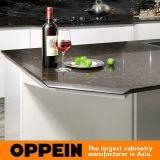 Da laca branca elevada moderna do lustro HPL de Oppein gabinete de cozinha de madeira (OP16-117)