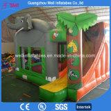 Bouncer di salto gonfiabile della trasparenza del castello della sosta dell'elefante combinato