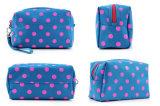 جديدة أسلوب ينقّط اللون الأزرق [ميكروفيبر] مستحضر تجميل حقيبة بنية حقيبة