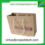 La alta calidad recicla la bolsa de la tienda de comestibles y del papel el SOS Brown con insignia