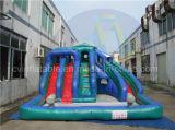 3つの車線膨脹可能な水スライド、子供のためのプールのスライド