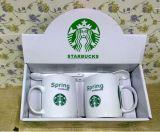 Nueva taza de café blanca al por mayor de China de hueso 12oz con la impresión de la insignia