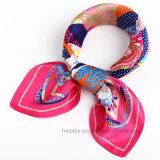 Qualität kundenspezifischer reiner Silk Drucken-Quadrat-Schal (HWBS40)