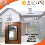 Tamaño personalizado de madera maciza Casement Ventana, revestido de madera maciza salto térmico Ventana Toldo de aluminio