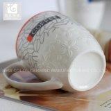 Grabar la taza y la taza de cerámica del vajilla de China del diseño