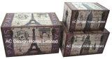 S/3 de Decoratieve Antieke Uitstekende Klassieke Doos van de Boomstam van de Opslag van de Druk Pu Leather/MDF van het Ontwerp van de Toren van Eiffel Rechthoekige Houten