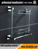現代デザイン浴室のハードウェアの倍ガラスの棚