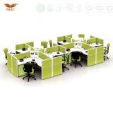 Forestal FSC certificados y aprobados por SGS diseño típico de la estación de trabajo de cristal de madera personalizado 4-persona escritorio de oficina