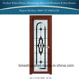 Aluminiumflügelfenster-Badezimmer-Türen mit Blumen-Entwurf für Innendekoration