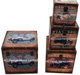 S/4 Doos van de Boomstam van de Opslag van de Druk Pu Leather/MDF van de Auto van de Decoratie de Antieke Uitstekende Oude Vierkante Houten