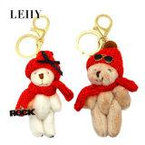 Form-Teddybär mit Red Hat-Sonnenbrille-Schlüsselkette