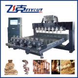 8 헤드 4 축선 회전하는 CNC 목제 조각 또는 대패 기계