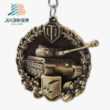 Catena chiave di vendita del ricordo militare in lega di zinco su ordinazione caldo del serbatoio 3D con l'anello portachiavi