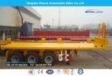 20FT 2개의 차축 평상형 트레일러 콘테이너 팁 주는 사람 세미트레일러 또는 반 트럭 트레일러